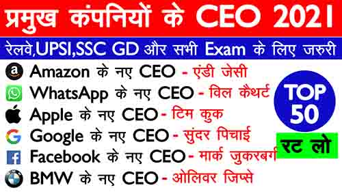 TOP 50 | प्रमुख कंपनी के CEO 2021 (companies and ceo) current affairs 202
